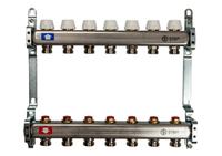 STOUT Коллектор из нержавеющей стали с запорными клапанами для радиаторной разводки